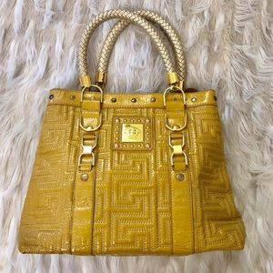 Bags - Mustard yellow purse with gold details
